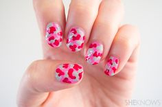 Pink camo nail art to honor the strength of breast cancer fighters