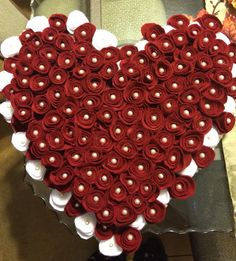 Heart of handmade felt flowers and pearls