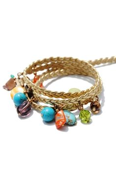 Complete your outfit with a beautiful, handcrafted golden braided leather wrap!