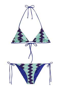 Missoni Mare Chevron Knit Triangle Bikini - multicolor Missoni Mare, Designer Swimwear, String Bikinis, Chevron, Triangle, Style Inspiration, Knitting, Fashion Design, Tricot
