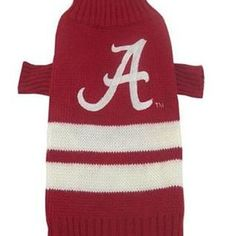 "Keep your dog warm while supporting the Alabama Crimson Tide with this officially licensed NCAA dog sweater! Size Chart Size Length of Back XS 6-9"" S 8-12"" M 14-18"" L 20-24"""