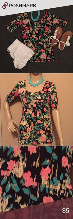 "Ultra Flirt Floral Top. Size M. Gorgeous Ultra Flirt Floral Top. Scoop neck line. Size M. Excellent Pre-Owned condition. No stains or holes. Length 17 1/2"". Width 14 1/2"". Sleeve Length (from shoulder) 10"". 95% Rayon, 5% Spandex. Ultra Flirt Tops Blouses"