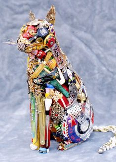 animal sculptures from junk or found objects
