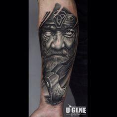"532 Likes, 23 Comments - U-Gene (@u_genetattoo) on Instagram: ""#tattoo #tattoos #wroclaw #poland #blackandgrey #odin #vikings #oldmanface #vikingaxe #axe…"""