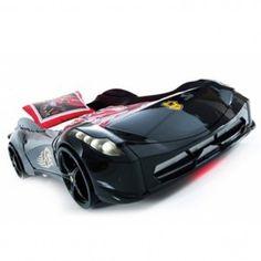 lit voiture de sport noir blackcar avec clairage led chambre enfant ou adolescent design ou. Black Bedroom Furniture Sets. Home Design Ideas