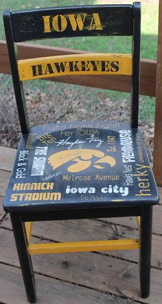Hand painted Iowa Hawkeye Chair painted by ME :) - Outdoor Sport - Multisport-Veranstaltung Iowa Hawkeye Football, Iowa Hawkeyes, Painted Chairs, Painted Furniture, Kansas Basketball, Iowa State, Diy Wood Projects, Hand Painted, Sports
