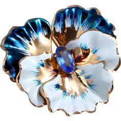 1940s CORO Sterling Silver Vermeil Blue Enamel Pansy Flower Brooch/Pin