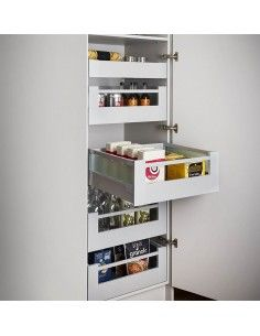 Individual Pull Out Shelving Basket Drawers Perfect For Cramp Kitchens, Create More Space! Basket Drawers, Storage Drawers, Storage Shelves, Storage Spaces, Shelving, Locker Storage, Kitchen Cabinets Design Layout, Tall Kitchen Cabinets, Kitchen Drawers