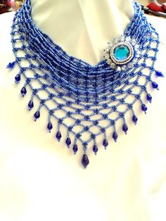 Necklace  a kerchief Blue Necklace Bead weaving by NataliStudio, $37.00