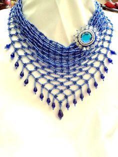 Necklace  a kerchief Blue Necklace Bead weaving by NataliStudio, $37.00