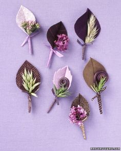 Decorate groomsmen's lapels with fresh and fabric boutonnieres -- tailored to an autumn affair. Pick one design or mix and match. The leaves are made of handsome textiles, including felt, wool-suiting fabric, and corduroy; the patterns mimic the veins of real leaves. Fiddleheads and sprigs of oregano, fresh lilac, rosemary, and grasses lend contrasting color. Make leaves ahead; add flora on the wedding day