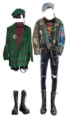 """""""넘어와"""" by honjo ❤ liked on Polyvore featuring McQ by Alexander McQueen, Boohoo, Givenchy, Demonia, Wet Seal, Versace, Ksubi, men's fashion and menswear"""