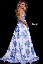 ebd3b2d14f jovani 58673 beaded floral blue ballgown Floral Prom Dresses