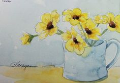 Yellow Flowers in Blue Cup Original Watercolor Painting
