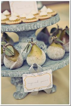sugared pears on tiers | gardenviewcottage: whipperberry
