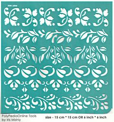 "Stencil Stencils Template ""Border Leaves"" 6 inch/15 cm, self-adhesive, flexible, for polymer clay, fabric, wood, glass, card making"