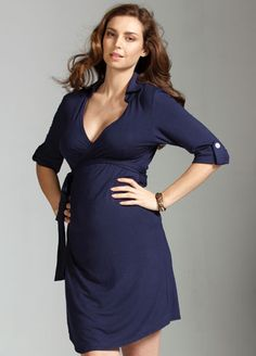 Trimester - Astute Collared Wrap Navy Blue Maternity Dress - Maternity Dresses - Queen Bee... love this!