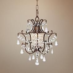 Castlewood walnut silver finish 3 light mini chandelier style this romantic mini chandelier charms your room with its bejeweled center light column 14 high x wide takes one 100 watt bulb not included mozeypictures Images