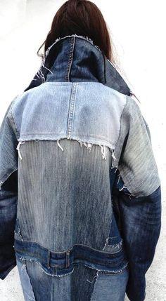 Denim coat / Jeans coat / Patchwork coat / Recycled jeans coat / Oversize coat / Reworked denim coat / Upcycled clothing / Vintage coat /