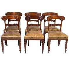 Antique Set of Six Regency Mahogany Dining Chairs, circa 1820 | From a unique collection of antique and modern dining room chairs at https://www.1stdibs.com/furniture/seating/dining-room-chairs/