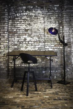 'See  the light'    industrial vintage steampunk lighting with drafting table and steel stool. adrianreynolds.co.uk