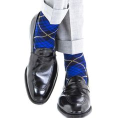 Dapper Classics Clematis Blue with Navy and Yolk Tartan Cotton Linked Toe Sock
