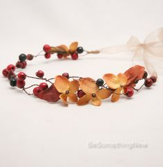 Rustic Fall Flower Crown Autumn Floral Wreath, Flower Wedding Headpiece woodland…