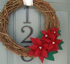 Grapevine Wreath Felt Handmade Holiday Decoration - Poinsettia
