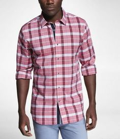 PLAID FITTED CONTRAST DETAIL SHIRT at Express
