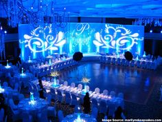 Blue Blue Blue Blue Blue!! and more blue!! Amazing texture gobos #Uplighting #gobo #specialevent
