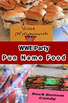 See our long list of WWE Pun Named food ideas you can use for your next WWE Party. WWE Pay Per View and Wrestlemania are always good times for a pun name food buffet. Pun Names, Wwe Party, Food Buffet, Wwe Pay Per View, Puns, Food Ideas, Party Ideas, Times, Breakfast