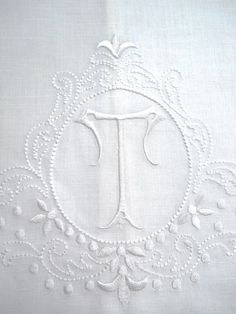 Large White Linen Guest Bathroom Hand Towel monogrammed T hemstitched whites