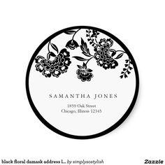 Zazzle 黒い花のダマスク織の住所シール 丸型シール