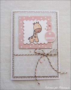 Carte girafe bonheur - My DIY Tips Baby Girl Cards, New Baby Cards, Z Cards, Kids Cards, Card Making Inspiration, Making Ideas, Congratulations Baby, Crafty Kids, Baby Scrapbook