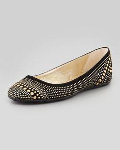 Welda Studded Ballerina Flat, Black by Jimmy Choo at Neiman Marcus. Black Flats Shoes, Slip On Shoes, Women's Shoes, Sock Shoes, Shoe Boots, Shoe Story, Ballerina Flats, Ballet Flats, Studded Flats