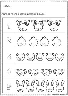 Mathematics for Children: Number and Quantity Painting Animals Activity - Counting Activities, Animal Activities, Kindergarten Math Worksheets, Preschool Activities, Math For Kids, Math Lessons, Pre School, Cursive, Puzzle