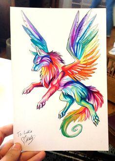 Small Rainbow Wolf by Lucky978.deviantart.com on @deviantART