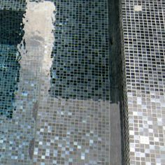 Charcoal glass pool tiles Click for more photos