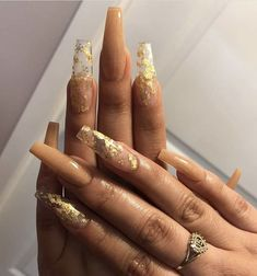 Acrylic Nails Coffin Pink, Long Square Acrylic Nails, Coffin Nails Long, Gold Nails, Gold Nail Designs, Nails Design, Art Designs, Drip Nails, Acylic Nails