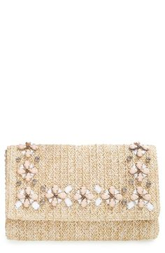 Free shipping and returns on Glint Embellished Straw Clutch at Nordstrom.com. A summery straw clutch ups the glam ante with an array of neutral-hued crystals.