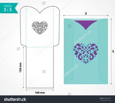 Pocket envelope template with die cut heart shape. Wedding invitation envelope mock up. Paper cutouts.
