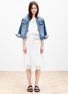 24 Reasons To Trust Your Style Instincts #refinery29  http://www.refinery29.com/madewell-spring-2014#slide17  Delicate, lacy pieces become a little less precious with a denim jacket and a pair of slides.
