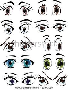 Cartoon eyes with different emotions and expressions - 25 Eps Cartoon Faces Expressions, Care Bear Costumes, Scarecrow Face, Face Template, Cartoon Eyes, Rock Painting Ideas Easy, Wood Carving Patterns, Anime Eyes, Clay Pots