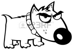 Outlined Angry Dog Bull Terrier Stock Vector