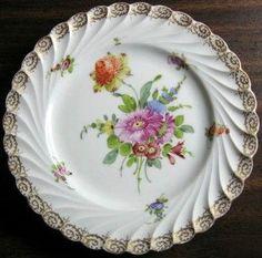 Shabby Euro Porcelain Purple Daisy Gold Edge Swirl Hand Painted Plate