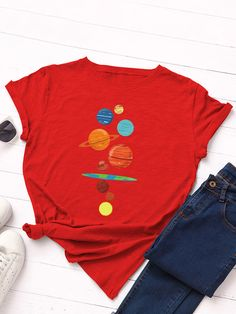 Cartoon Print O neck Short Sleeve Casual T Shirt For Women P1832877, Red / US 10