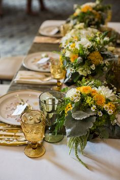 green and yellow tablescape // photo by Meghan Christine // http://ruffledblog.com/lawyers-in-love-wedding-inspiration
