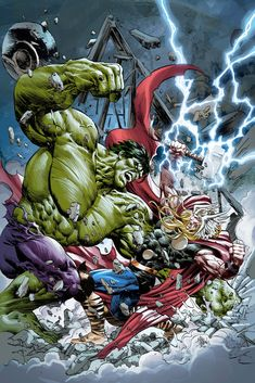 The Incredible Hulk vs The Mighty Thor by Mike Deodato Jr.