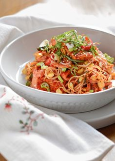 Spicy tofu dish made with crunch bean sprouts. Quick, easy and delicious!