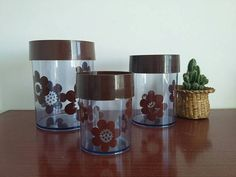 Erik Kold Canister Set // // Made in Denmark // Mid Century Retro Kitchen // Danish Modern // Clear Plastic Canisters // Brown Floral Plastic Canisters, Canister Sets, Brown Floral, Danish Modern, Flower Prints, Denmark, Flower Power, 1970s, Jar